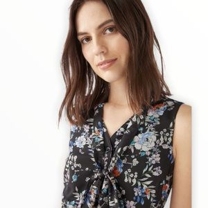 JUSTFAB Floral Sleeveless Dress in Black with Tie